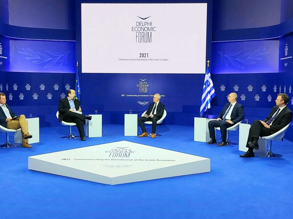 Ο Γιάννης Οικονόμου στο 6ο Οικονομικό Φόρουμ Δελφών  Γιάννης Οικονόμου: Να φτιάξουμε παντού πρότυπα ψηφιακά αγροκτήματα elphi Economic Forum VI1 950x713
