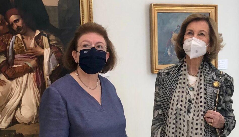 Η βασιλομήτωρ της Ισπανίας Σοφία με την Υπουργό Πολιτισμού Λίνα Μενδώνη  Επίσκεψη της βασιλομήτορος Σοφίας της Ισπανίας στην Εθνική Πινακοθήκη                                                                                                                                      950x545