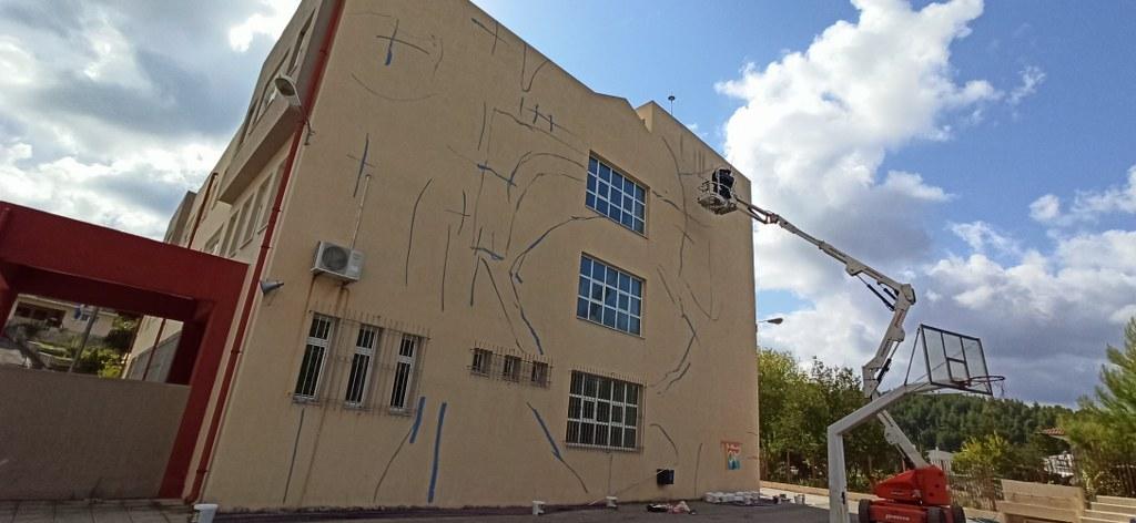 Mεγάλη τοιχογραφία στο δημοτικό σχολείο Μαντουδίου 1b 2
