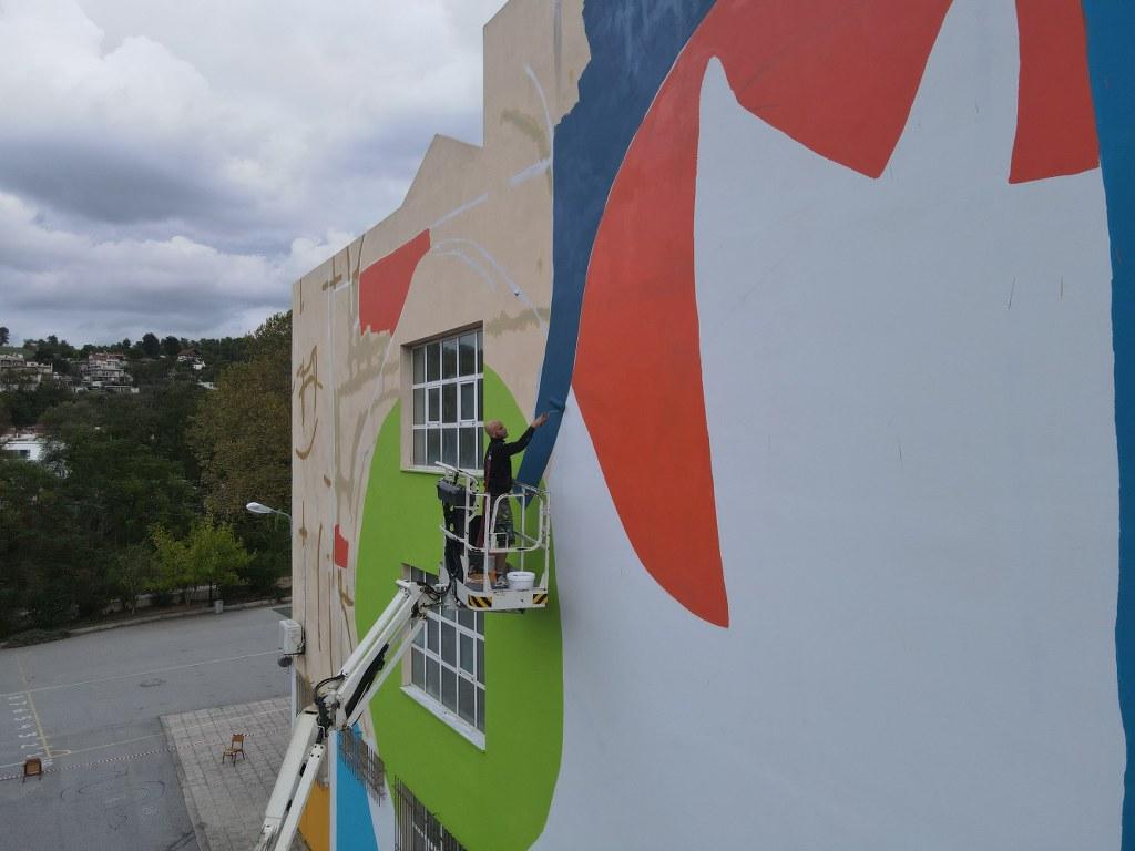 Mεγάλη τοιχογραφία στο δημοτικό σχολείο Μαντουδίου 2 3 1024x768