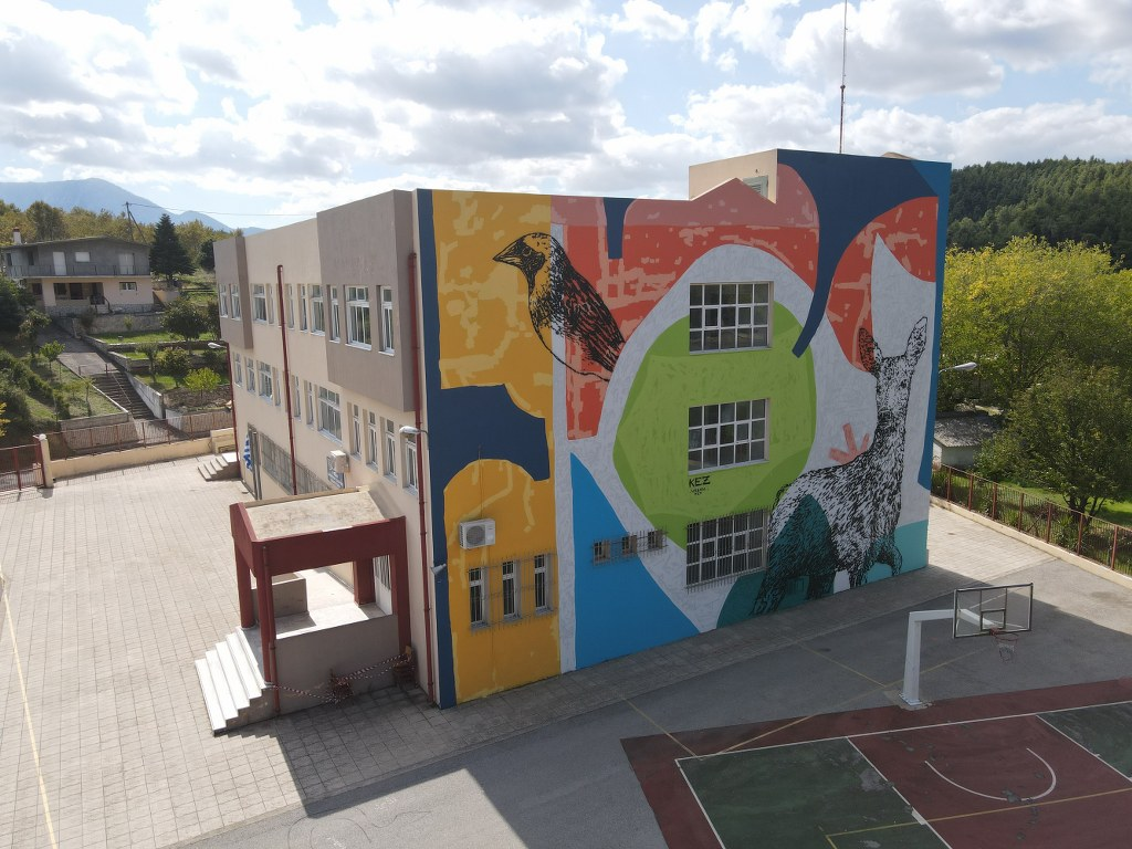 Mεγάλη τοιχογραφία στο δημοτικό σχολείο Μαντουδίου DJI 0394 1024x768