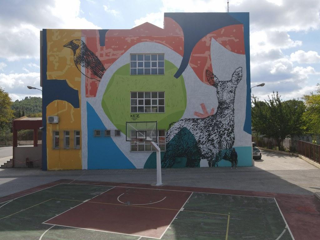 Mεγάλη τοιχογραφία στο δημοτικό σχολείο Μαντουδίου DJI 0399 1024x768